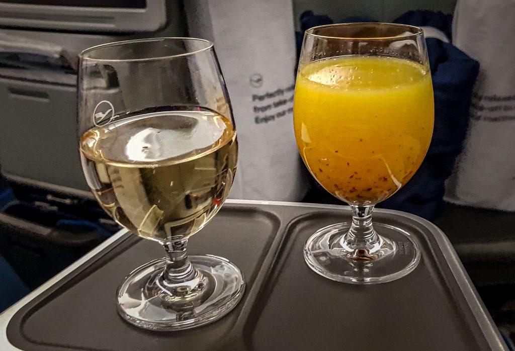 Bebida bienvenida Business Class de Lufthansa